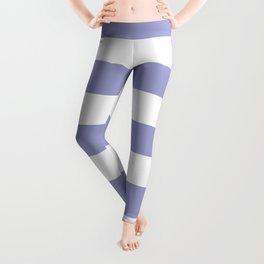 Blue bell - solid color - white stripes pattern Leggings