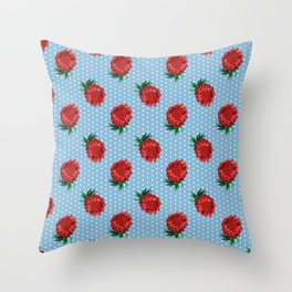 Beautiful Protea Pattern - White Polka Dots on Blue - Australian Native Flowers Throw Pillow