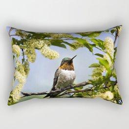 Hummingbird with Flowers Rectangular Pillow