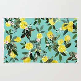 Summer Lemon Floral Rug