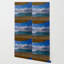 Seaside Under Umbrellas Wallpaper