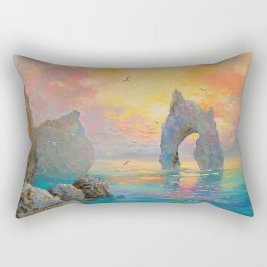 Rocks on the sea Rectangular Pillow
