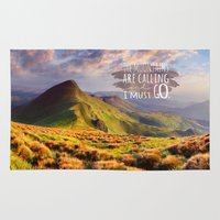the mountains are calling Area & Throw Rugs featuring Mountains Are Calling Travel Adventure by Rainbow Rules