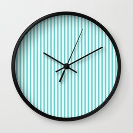 Classic Tiffany Aqua Blue and White Mattress Ticking Stripes Wall Clock