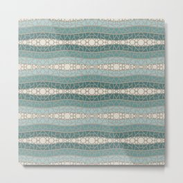 Mosaic Wavy Stripes in Teals and Cream 1 Metal Print
