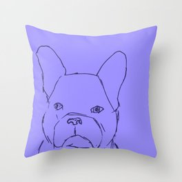 Sketched Frenchie (Blues) Throw Pillow