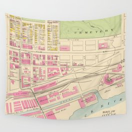 Vintage Map of Manchester NH (1892) (2) Wall Tapestry