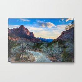 The Virgin River Flows Towards The Watchman at Sunset Metal Print
