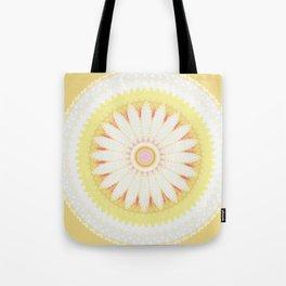 Sunshine Yellow Flower Mandala Abstract Tote Bag