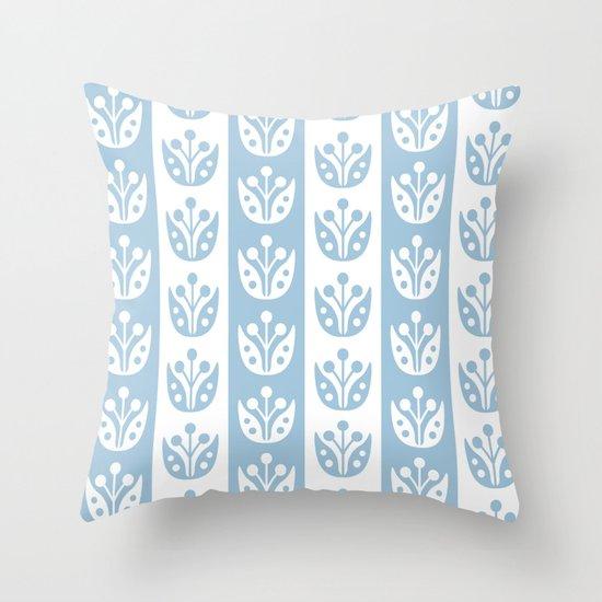 Mid Century Modern Flower Stripes Pattern Pale Blue by tonymagner