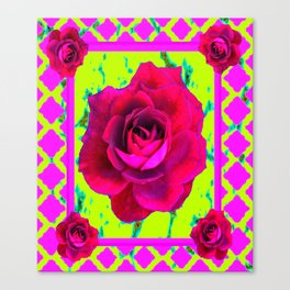 Red Roses Cerise-Chartreuse Lattice Pattern Art. Canvas Print