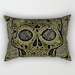 Skull, golden Rectangular Pillow