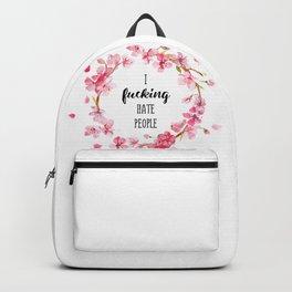 I hate people Flowers art Backpack