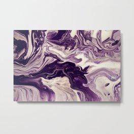 Purple and Cream Marble Metal Print