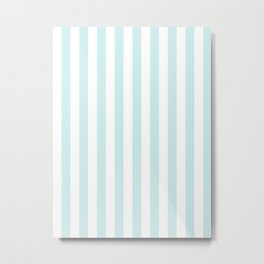 Narrow Vertical Stripes - White and Light Cyan Metal Print