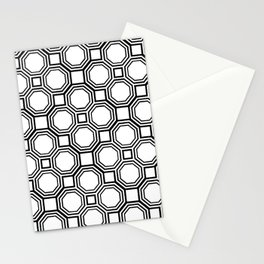 Modern Black and White Geometrical Pattern Stationery Cards
