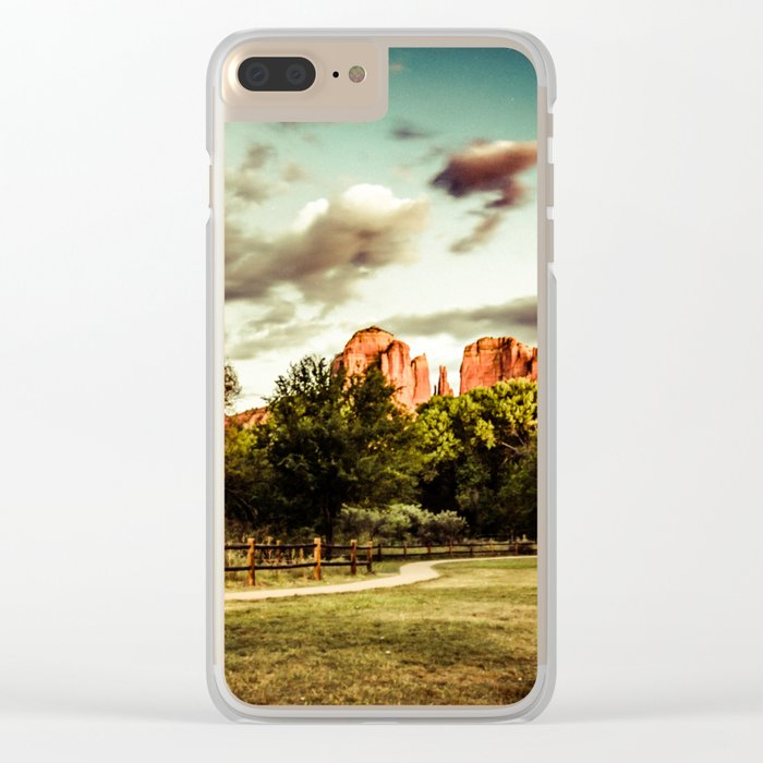 Southwest Chimney Rock Vortex Sedona Arizona Clear iPhone Case