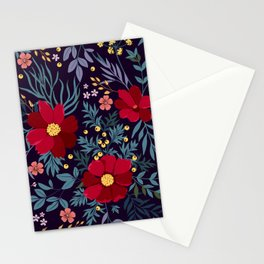 Bold Beautiful Graphic Floral Pattern Floral Kingdom Flowers Glowing Red Flower Garden Night Magic Stationery Cards