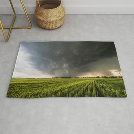 Beautiful Storm - Tornado Emerges From Rain Over Wheat Field in Kansas Rug