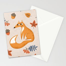 Autumn fox in the forest Stationery Cards