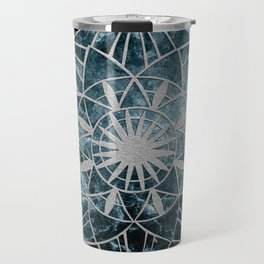 Star Mandala on Enigmatic Deep Blue Ocean Marble #1 #decor #art #society6 Travel Mug
