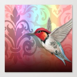 Hummingbird & Damask Watermarks Canvas Print