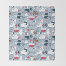 Veterinary medicine, happy and healthy friends // pastel blue background Throw Blanket