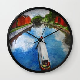 Longboat canal boat on river Wall Clock