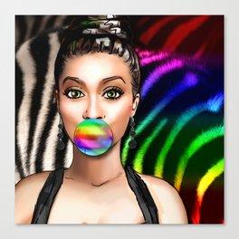 Retro Pinup Girl Rainbow Bubble Gum & Zebra Print Canvas Print