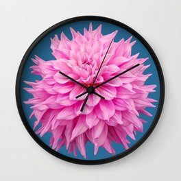Floral Art Pink Dahlia Blue Wall Clock