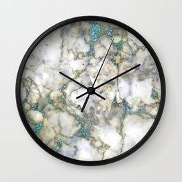 marble blue glitter Wall Clock