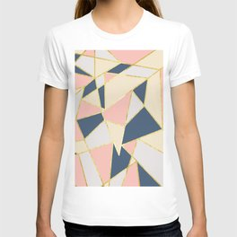 Girly Geometric Triangles with Faux Gold T-shirt