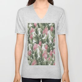 Watercolor pink gable green abstract cactus floral Unisex V-Neck