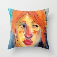 redhead Throw Pillows featuring Redhead by Danilo Gonçalves