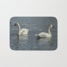 Two Trumpeter Swans at Oxbow Bend Bath Mat