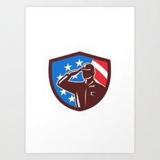 American Soldier Saluting USA Flag Crest Retro Art Print