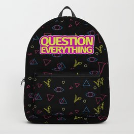 Question Everything Vegan Arcade Pattern Backpack