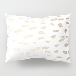 Gold Modern Polka Dots on White Pillow Sham
