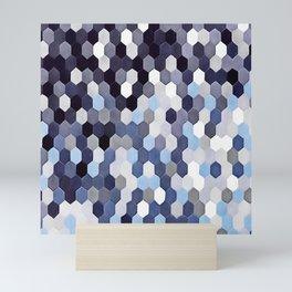 Honeycomb Pattern In Blue Tones Mini Art Print