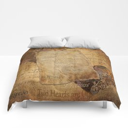 Two Hearts are One - Vintage Romantic Steampunk Art Comforters