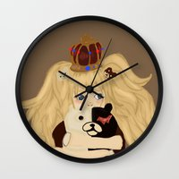 dangan ronpa Wall Clocks featuring junko and monobear by sabrina