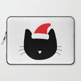 Christmas Cat Heart Nose With Santa Hat Laptop Sleeve