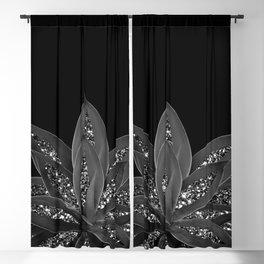Gray Black Agave with Black Silver Glitter #2 #shiny #tropical #decor #art #society6 Blackout Curtain