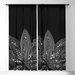 Gray Black Agave with Black Silver Glitter #2 #shiny #tropical #decor #art #society6 Blackout Curtain