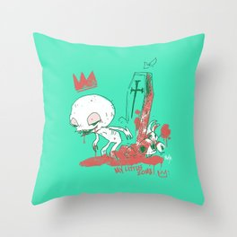 My little zombie - green version Throw Pillow