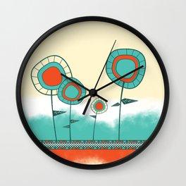 Four Wild Flowers Wall Clock