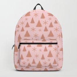 Rose Gold Glitter Christmas Tree Pattern Backpack