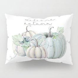 welcome autumn blue pumpkin Pillow Sham