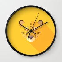 cheetah Wall Clocks featuring Cheetah by Fabio Rex