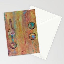 Orange Artist Brushes Stationery Cards